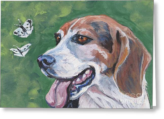 Greeting Card featuring the painting Beagle And Butterflies by Lee Ann Shepard