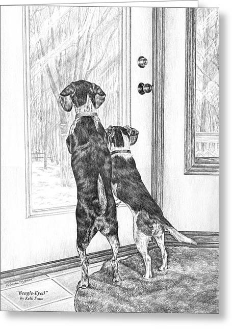 Beagle-eyed - Beagle Dog Art Print Greeting Card