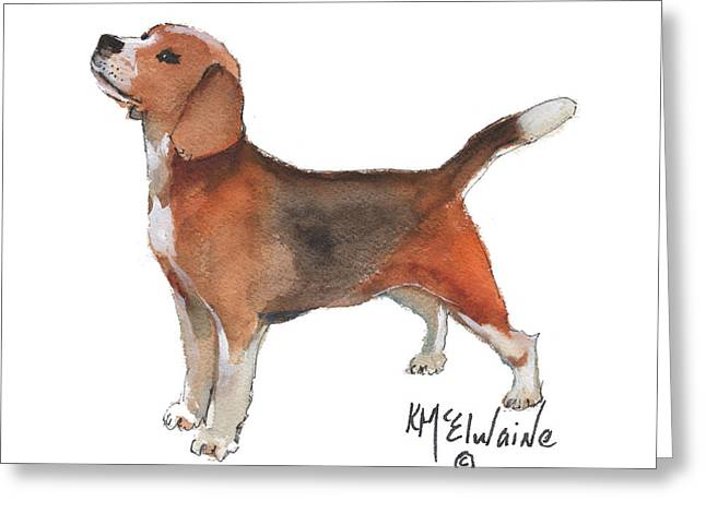 Beagle Watercolor Painting By Kmcelwaine Greeting Card by Kathleen McElwaine
