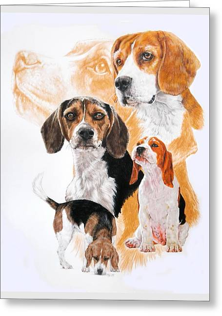 Beagle W/ghost Greeting Card by Barbara Keith