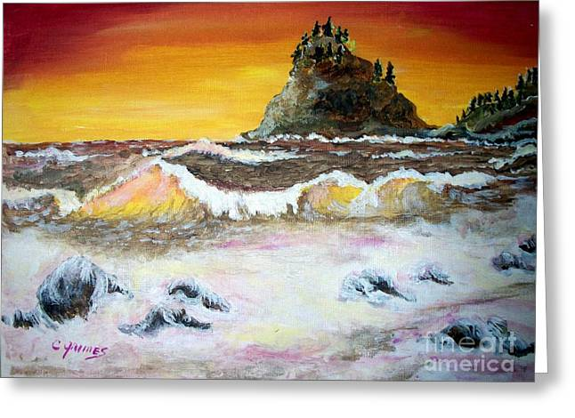 Greeting Card featuring the painting Beaitiful Breakers by Carol Grimes
