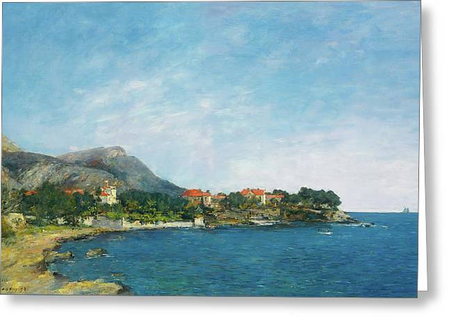 Greeting Card featuring the painting Bealieu - The Bay Of Fourmis by Eugene Boudin