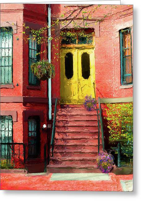 Beantown Brownstone With Yellow Doors Greeting Card