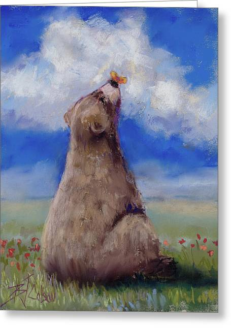Bear And Butterfly Greeting Card by Billie Colson