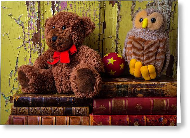 Bear And Owl On Old Books Greeting Card