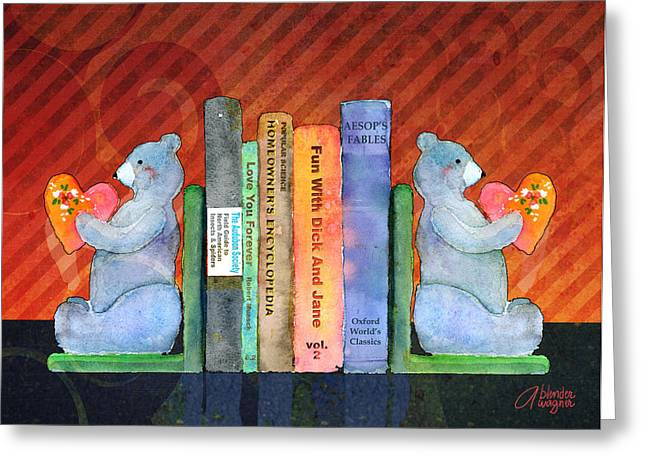 Bear Bookends Greeting Card by Arline Wagner