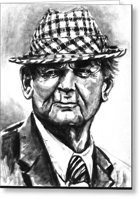 Bear Bryant Bw Watercolor  Greeting Card