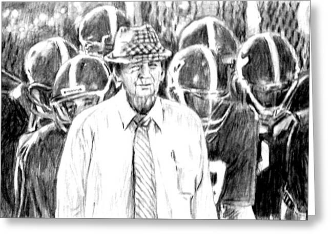Bear Bryant With Players  Greeting Card by Hae Kim