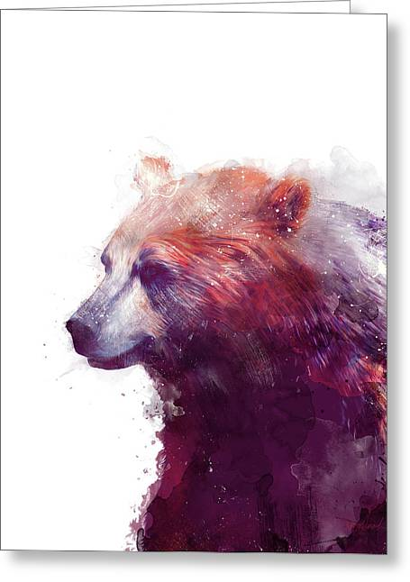 Bear // Calm - Right // White Background Greeting Card by Amy Hamilton