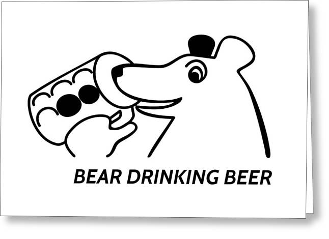 Bear Drinking Beer Greeting Card