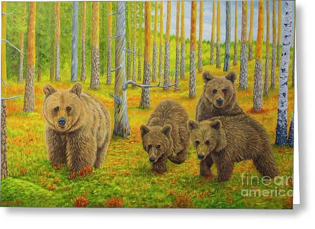 Bear Family Greeting Card by Veikko Suikkanen