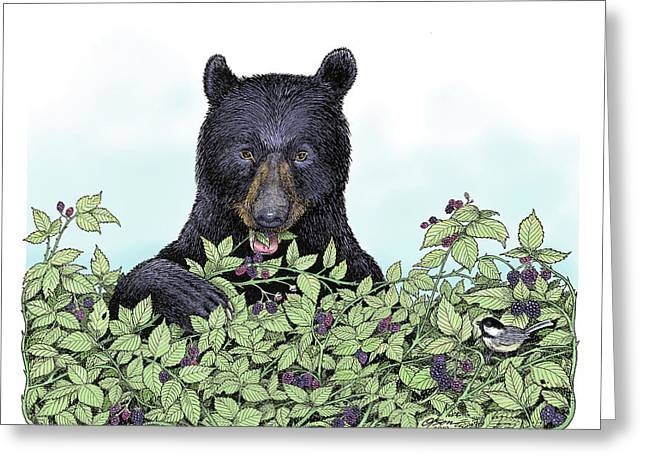 Bear In The Berries Greeting Card