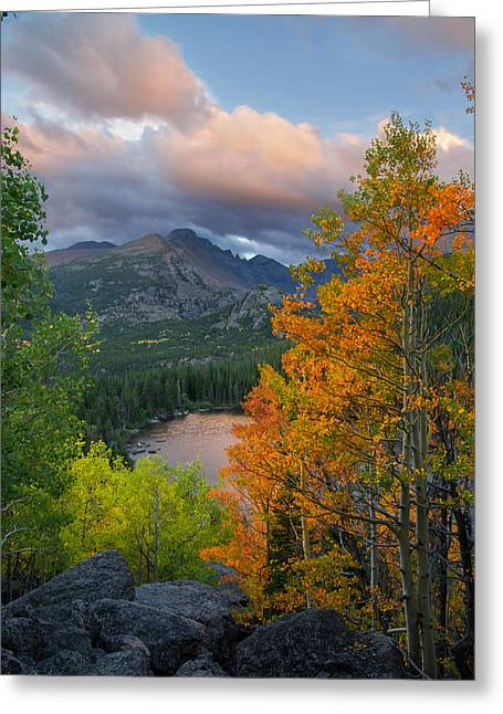Bear Lake Autumn Greeting Card by Aaron Spong