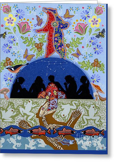 Greeting Card featuring the painting Bear Medicine by Chholing Taha