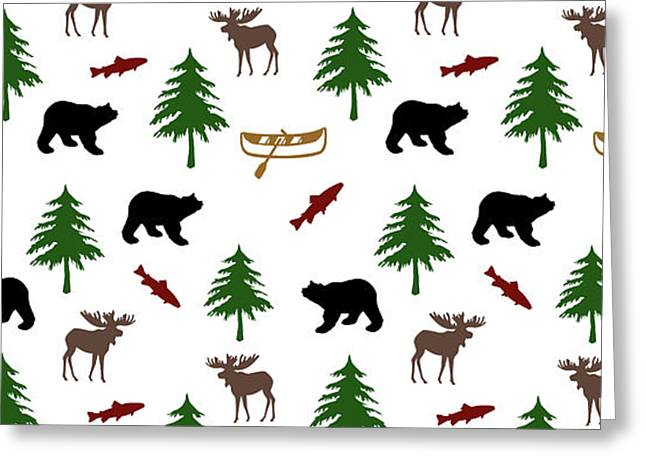 Bear Moose Pattern Greeting Card by Christina Rollo