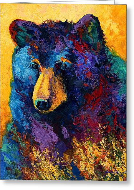 Wild West Greeting Cards - Bear Pause - Black Bear Greeting Card by Marion Rose