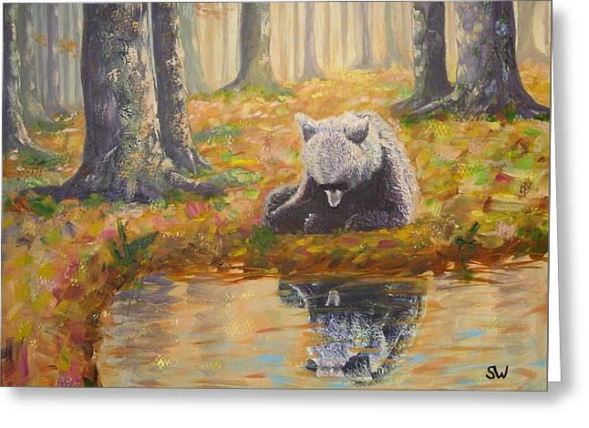 Bear Reflecting Greeting Card