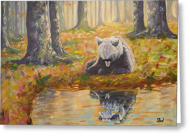 Bear Reflecting Greeting Card