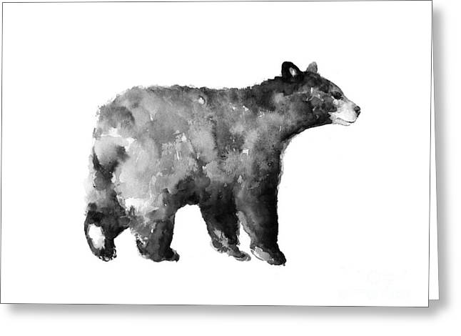 Bear Watercolor Drawing Poster Greeting Card by Joanna Szmerdt