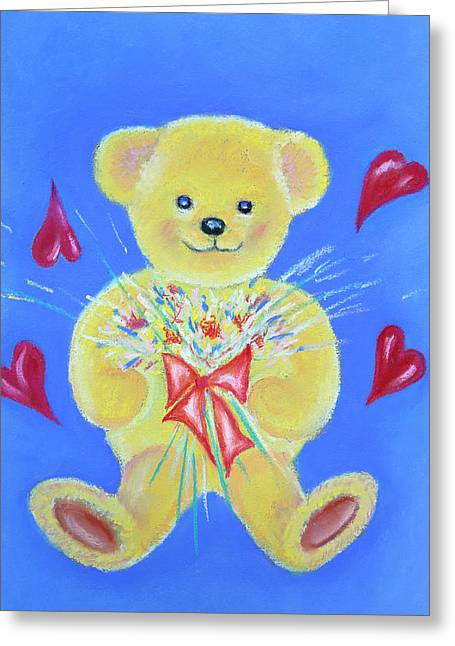 Bear With Flowers Greeting Card