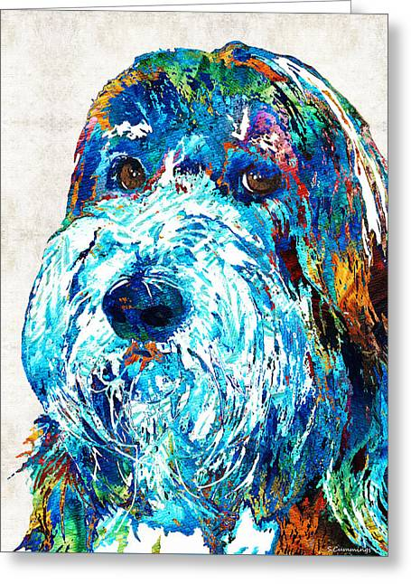 Bearded Collie Art 2 - Dog Portrait By Sharon Cummings Greeting Card