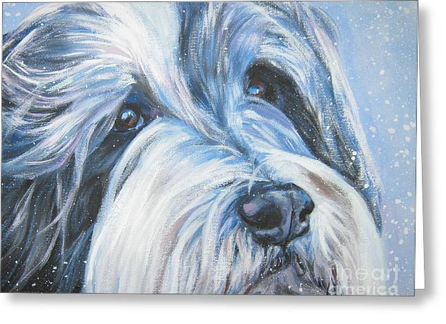 Bearded Collie Up Close In Snow Greeting Card by Lee Ann Shepard