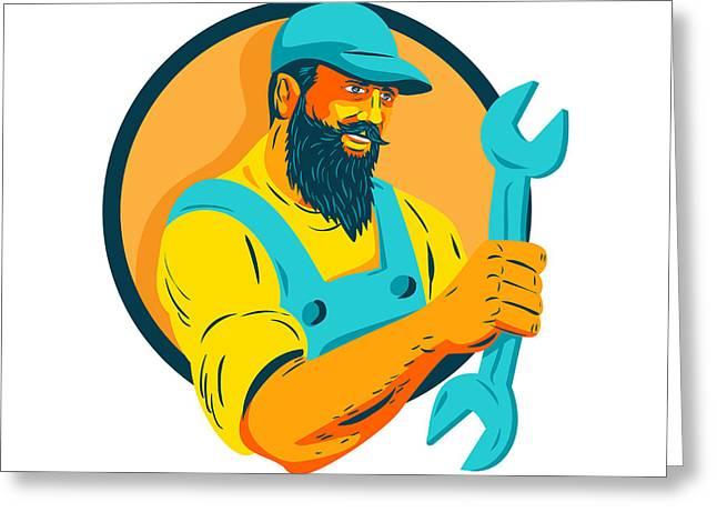 Bearded Mechanic Holding Spanner Circle Wpa Greeting Card