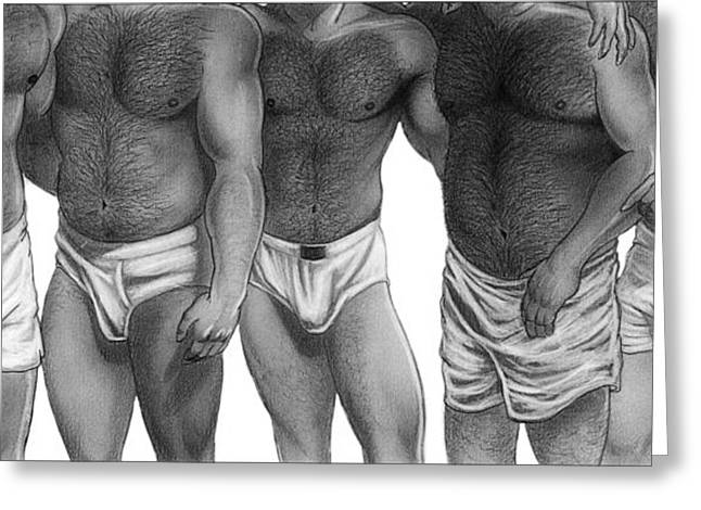 Erotic Male Drawings Greeting Cards - Bears and Cubs of Portland Front Greeting Card by Brent  Marr