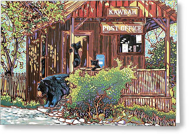 Greeting Card featuring the painting Bears At The Kaweah Post by Nadi Spencer