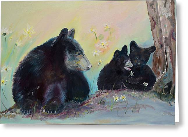 Greeting Card featuring the painting Bears Frolicking In Spring by Jan Dappen