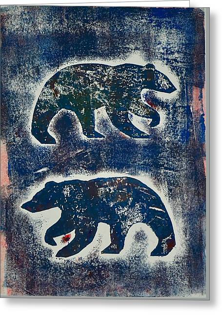 Bears In Blue  Greeting Card