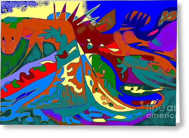 Beast In Colorful Coat Greeting Card by Beebe  Barksdale-Bruner