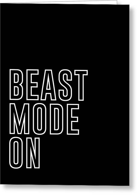 Beast Mode On - Gym Quotes - Minimalist Print - Typography - Quote Poster Greeting Card