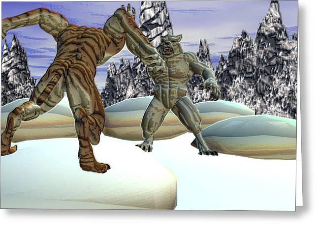 Beastcat Vs. The Yeti Greeting Card