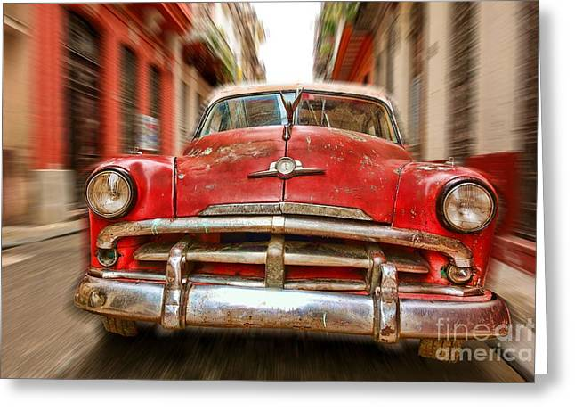 Beaten Red And White Old Cuban Auto In Havana, Cuba Greeting Card