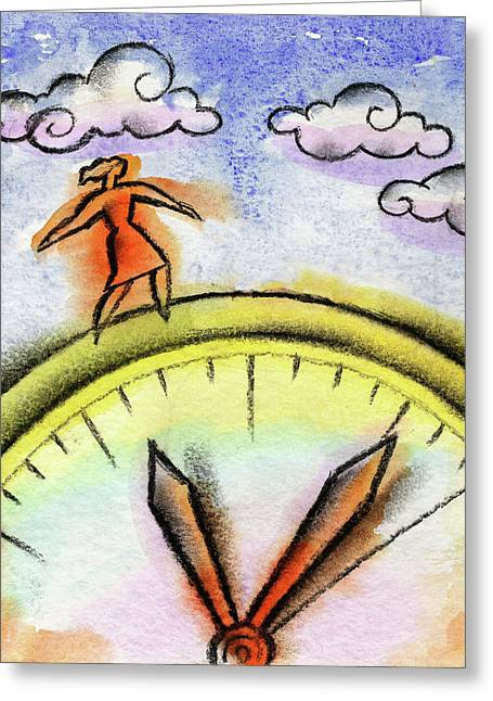 Beating The Clock Greeting Card by Leon Zernitsky