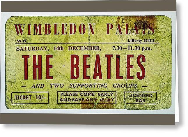 Beatle Ticket Wimbledon Dec 14 1963 Greeting Card by Allen Beilschmidt