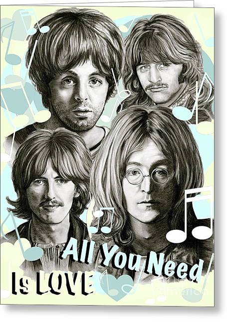 Beatles All You Need Is Love Greeting Card by Gitta Glaeser
