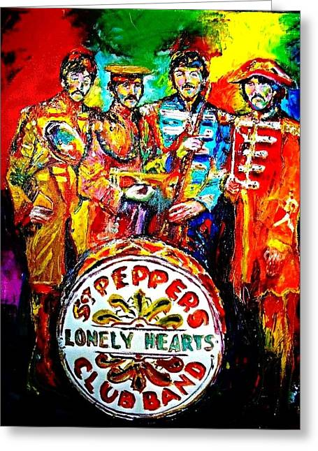 Sgt Pepper Greeting Cards - Beatles Sgt. Pepper Greeting Card by Leland Castro