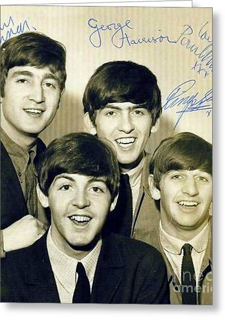 Beatles Signed Photograph Greeting Card by Pd