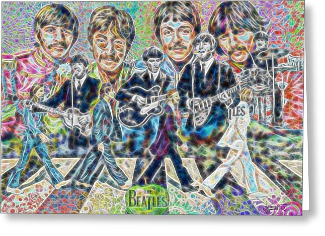 Beatles Tapestry Greeting Card by Dave Luebbert