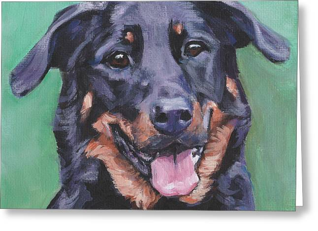 Greeting Card featuring the painting Beauceron Portrait by Lee Ann Shepard