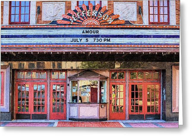Greeting Card featuring the digital art Beaumont Jefferson Theater by JC Findley