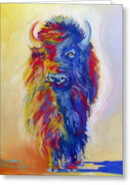 Greeting Card featuring the pastel Beaus Buffalo by Pat Crowther