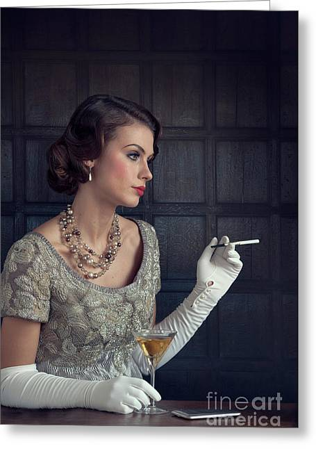 Beautiful 1930s Woman With Cocktail And Cigarette Greeting Card