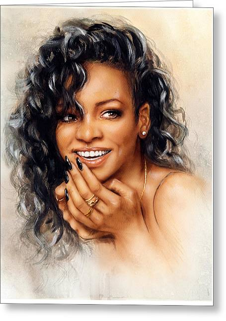 beautiful airbrush portrait of Rihanna with red hair and a face close up with her hand touching her Greeting Card