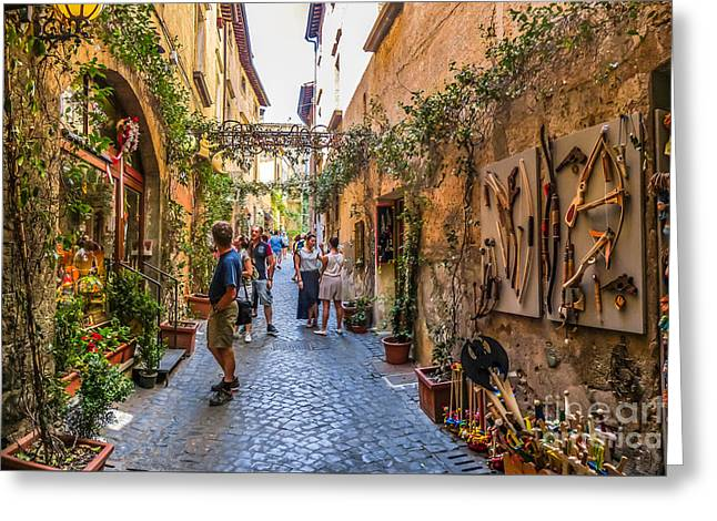 Beautiful Alley Near Cathedral Of Orvieto, Umbria, Italy Greeting Card by JR Photography