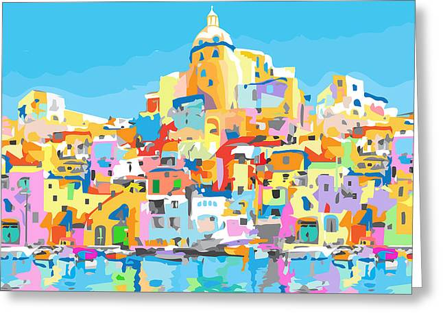 Beautiful Island Of Procido, Italy Greeting Card by Inge Lewis