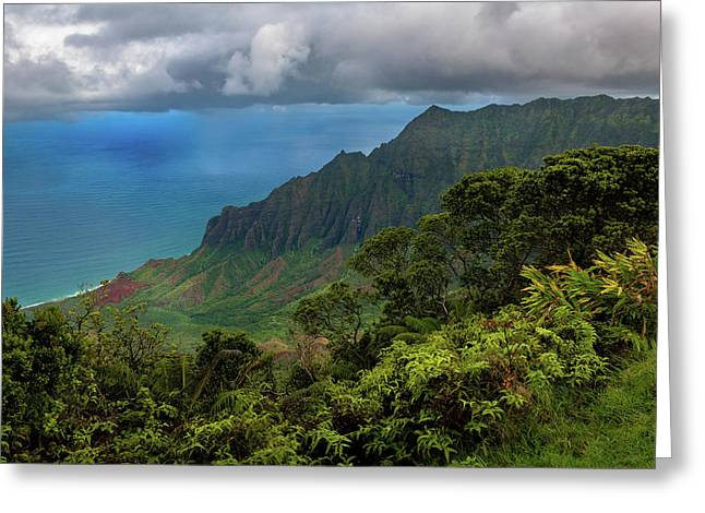 Greeting Card featuring the photograph Beautiful And Illusive Kalalau Valley by John Hight