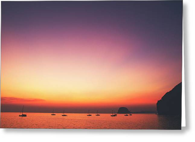 Beautiful And Serene Sunset View Over A Lagoon Bay With Couple Of Yachts And Islands In Distance Greeting Card